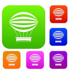 striped retro hot air balloon set color collection vector image vector image