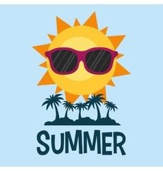 Summer poster palms sun glasses vector