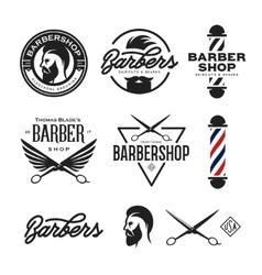 Barber shop badges set vintage vector image vector image