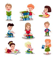 cute smart kids reading books set of vector image