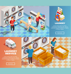 laundry isometric dry cleaning banners vector image vector image
