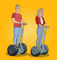 pop art young man and woman riding segway vector image vector image