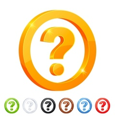 Set of 7 question symbol in different colors vector image vector image