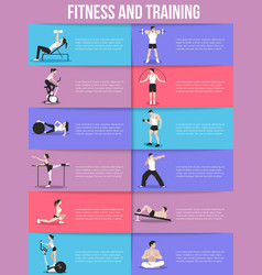 Training people icons set for sport fitness vector image vector image
