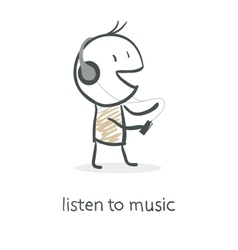 Cartoon man listening to music vector image vector image
