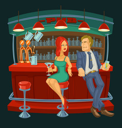 cartoon of man meets a woman in ba vector image