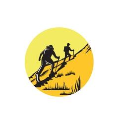 Hikers Hiking Up Steep Trail Circle Woodcut vector image
