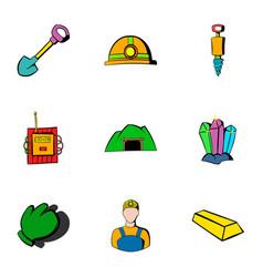 mine icons set cartoon style vector image vector image