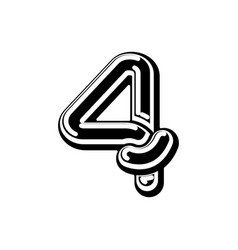 Number 4 celtic font norse medieval ornament abc vector
