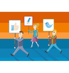People showing posters with icons vector image vector image