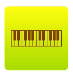 piano keyboard sign brown icon at green vector image
