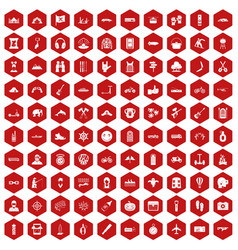 100 adventure icons hexagon red vector