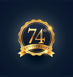 74th anniversary celebration badge label in vector