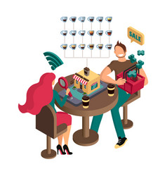 a couple in love at table make a choice in vector image