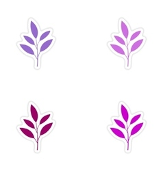 assembly realistic sticker design on paper leaves vector image