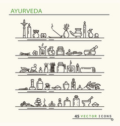 ayurvedic supplies icons vector image