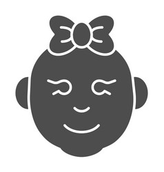 baby girl solid icon little girl smiling face vector image