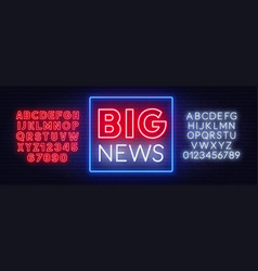 big news neon sign on a dark background vector image