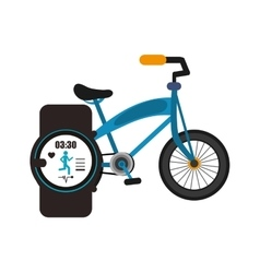 Bike and heart rate wrist monitor icon vector