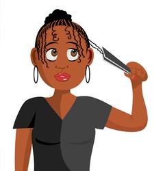 black girl plaiting hair vector image