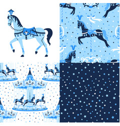 Blue set of carousel seamless patterns vector