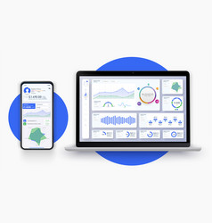Business app ui ux with graph and analytics web vector