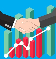Business people handshake graph vector