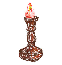 candle in keeper on white background vector image