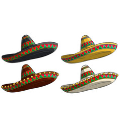 cartoon traditional mexican hat sombrero vector image