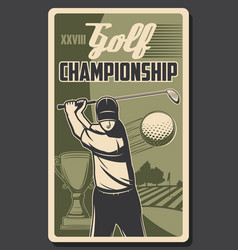 championship golf sport player hits ball stick vector image