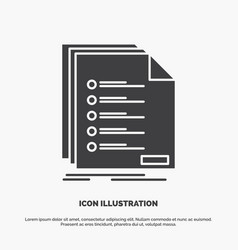 Check filing list listing registration icon glyph vector