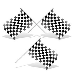 checkered and single racing flags with shadows vector image