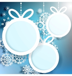 Christmas ball cut from paper on blue EPS 10 vector image