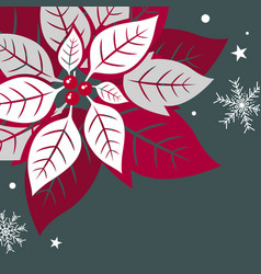 christmas card design of xmas leaves vector image