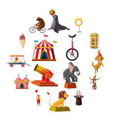 circus symbols icons set cartoon style vector image