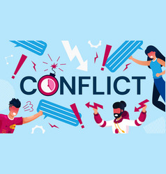 Coworker conflict aggression and team war poster vector