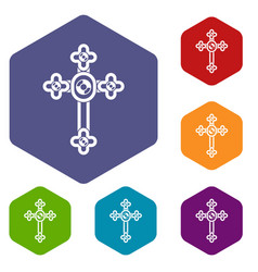 Cross with diamonds icons set hexagon vector