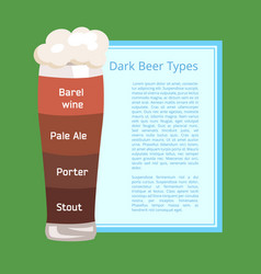 dark beer types poster depicting pilsner glass vector image