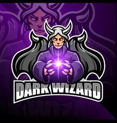 dark wizard esport mascot logo design vector image