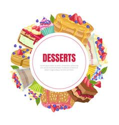 desserts banner template bakery shop cafe vector image