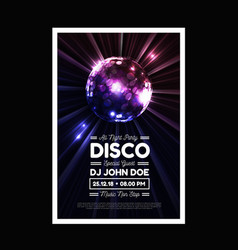 disco party background with rays and disco vector image