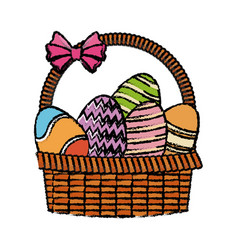 Easter basket with egg decoration party vector
