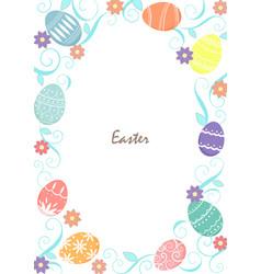 easter eggs with spring flowers garden frame vector image