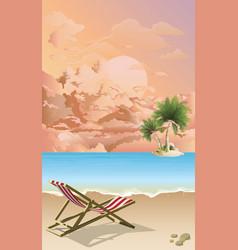 Empty deckchair on beach at dawn vector