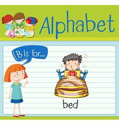 Flashcard alphabet B is for bed vector image