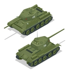 Flat 3d isometric of tank Military vector image