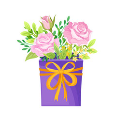 Floral arrangement with roses in box vector