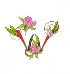 floral font 2 letter w vector image