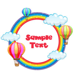 Frame design with rainbow and balloons vector