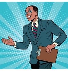 Friendly african american businessman vector